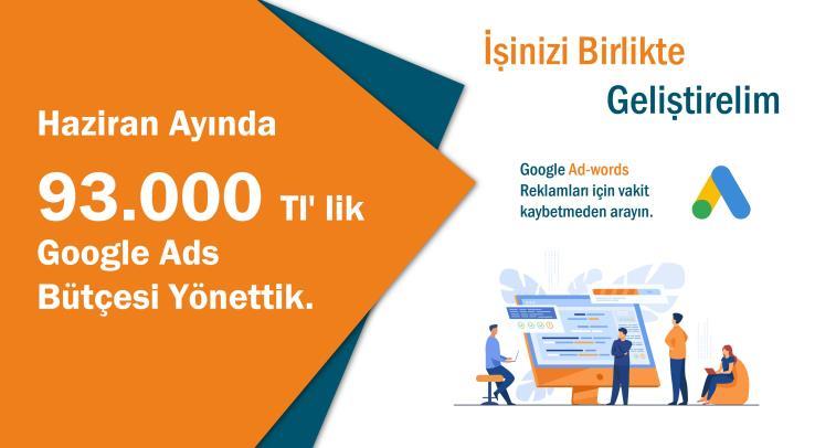 Haziran Ayında 93,000 Tl' lik Google Ads Bütçesi Yönettik.