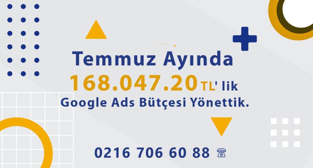 Temmuz Ayında 168.047.20 TL' lik Google Ads Bütçesi Yönettik.